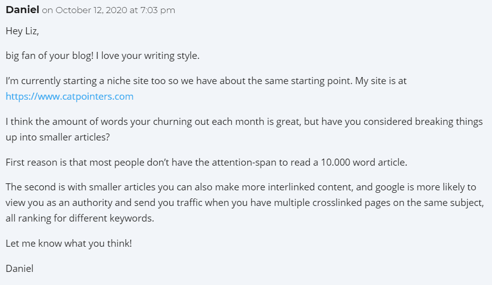 Niche Site Comment